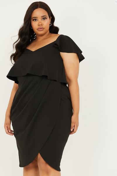 Curve Black Double Layer Wrap Dress